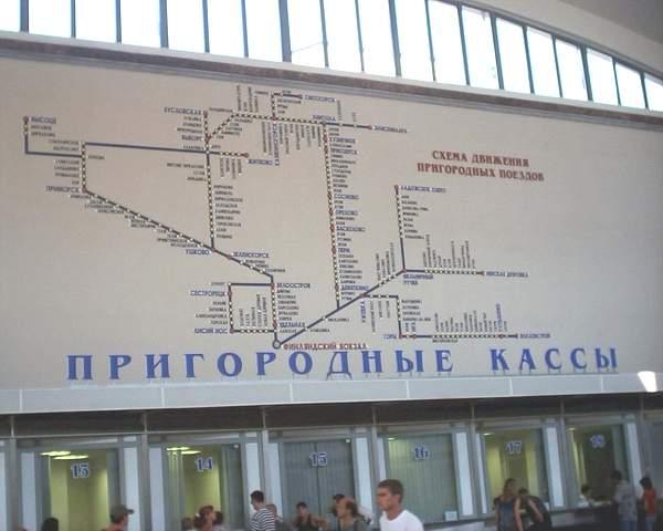 Схема пригородных направлений