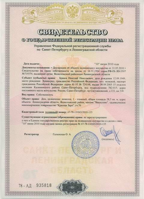 Регистрация прав собственности в спб Лисе, протестовал